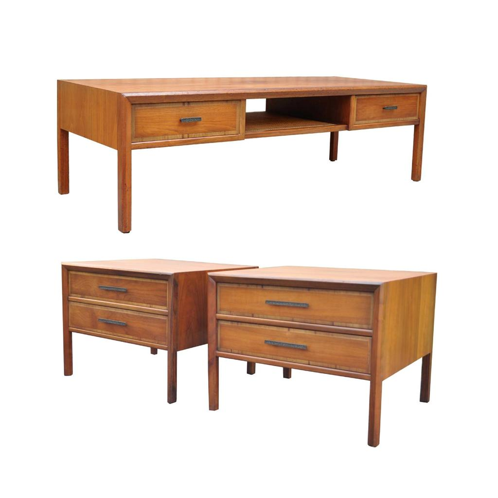 Vtg Mid Century Modern 3 PC Walnut Coffee Table End Table