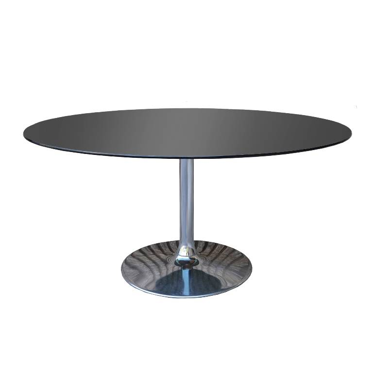 Smoked Oval Glass Chrome Tulip Base Dining Table Saarinen EBay
