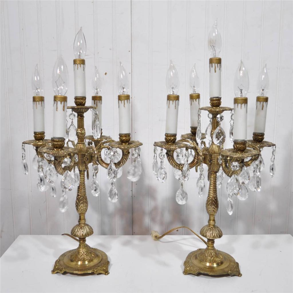 Vtg Brass Floor Lamp: PAIR Antique FRENCH Style Solid Brass Crystal CANDELABRA