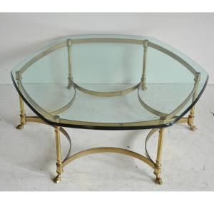 Vtg Labarge Brass Hoof Foot Hollywood Regency Hexagonal Glass Top Coffee Table