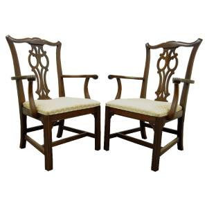 ethan allen chippendale georgian cherry dining room arm chairs ebay