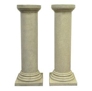 Pair Vintage 39 Faux Concrete Fiberglass Column Pedestals