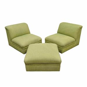 Pair Of Contemporary Green Slipper Lounge Living Room Chairs Ottoman Modern Ebay
