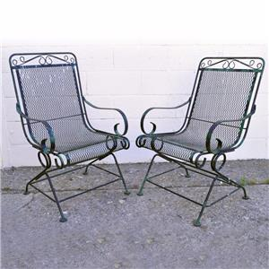 vintage pair wrought iron outdoor patio bouncer lounge chair meadowcraft woodard ebay. Black Bedroom Furniture Sets. Home Design Ideas