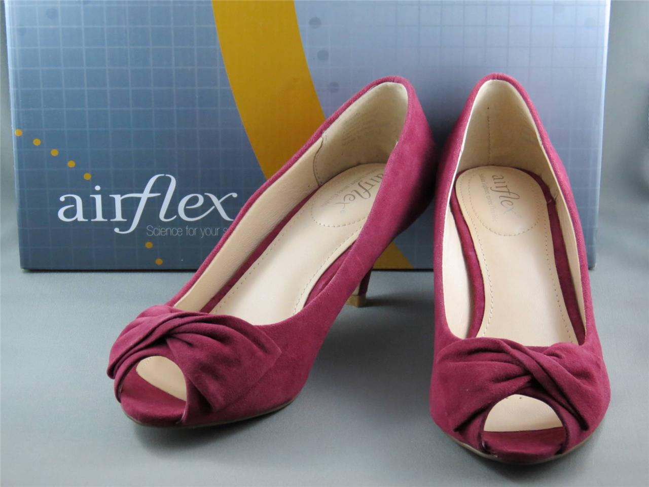 Airflex-Womens-Suede-Open-Toe-Shoes-Mid-Heel-colour-Berry-Size-5-BNIB