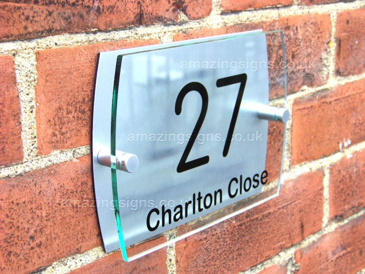 Modern House Sign Plaque Door Number Street Glass Effect