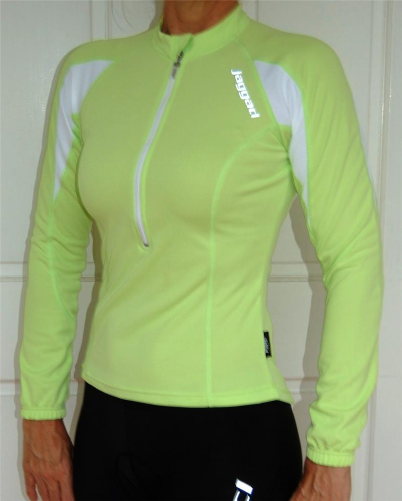Womens-Jaggad-Cycling-Bike-Long-Sleeve-Lime-Green-Jersey-Top-S-8-M-10-L-12-XL-14
