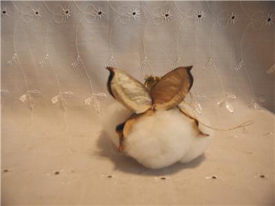 Handmade Primitive Raw Cotton Boll Christmas Angel Ornaments