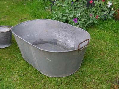 Vintage Galvanised Tin Zinc Bath Garden Planter Pond Ebay