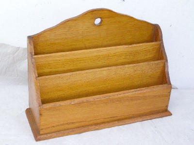 Antique oak wooden desk top wall mounted letter rack tray desk tidy ebay - Wooden letter holder wall mount ...
