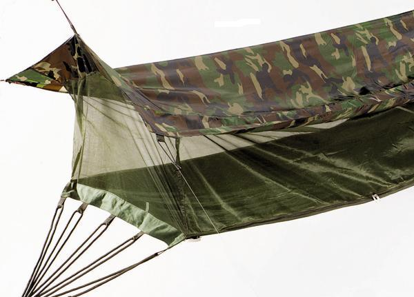 Military-Style-Camo-or-Olive-GI-Jungle-Hammock-W-Mosquito-Net-Rainfly-NEW-2365
