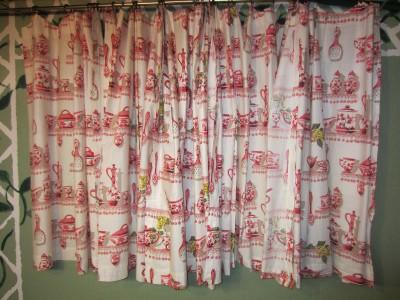 Vintage Shabby Colorful Red Pink Cafe Kitchen Curtains 5 Panels 3 Valances Ebay
