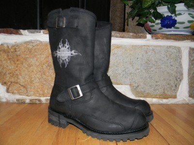 HARLEY DAVIDSON MENS BLACK LEATHER MOTORCYCLE RIDING BOOTS SHOES 10.5