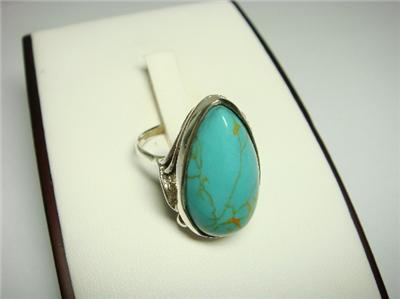 925 Sterling Silver Ring with Pear Turquoise Stone