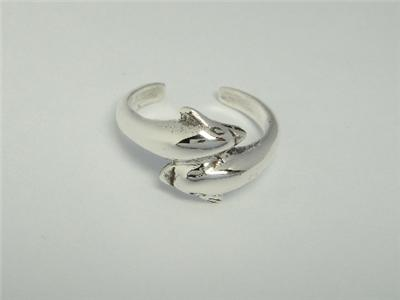 925 Sterling Silver Twin Dolphins Adjustable Toe Ring