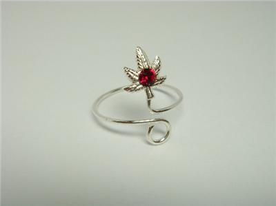 925 Sterling Silver Leaf Red Crystal Toe Ring