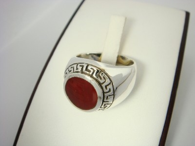 925 Sterling Silver Mens Round Carnelian Greek Key Ring
