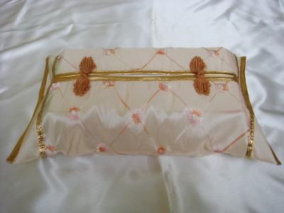 Thai Silk Cream Classy Checkered Art Tissue Box Cover