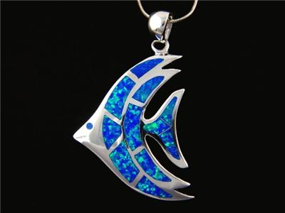 925 Sterling Silver Pendant Hawaiian Blue Opal Fish