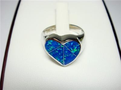 Sterling Silver Hawaiian Blue Opal Heart Lovely Ring