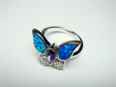 Sterling Silver Ring Hawaiian Blue Butterfly Opal CZ