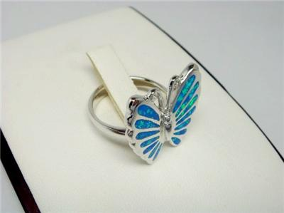 925 Sterling Silver Ring Hawaiian Blue Opal Butterfly