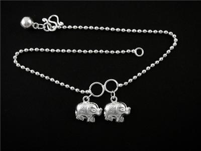925 Sterling Silver Elephant Anklet Chain Charm Ankle