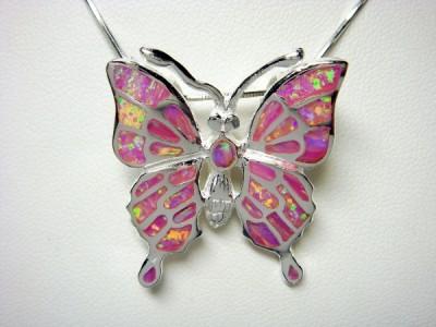 925 Sterling Silver Pendant Pink Opal Butterfly Monark