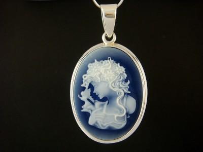 925 Sterling Silver Pendant Vintage Lady Blue Cameo 7gr