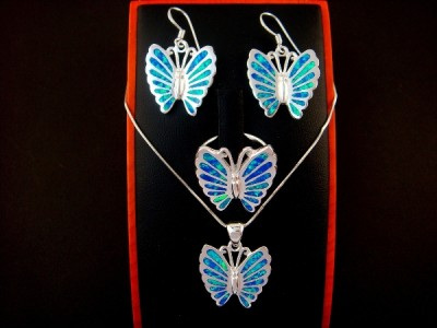925 Silver Earrings Pendant Ring Set Opal Butterfly