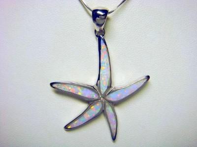 925 Sterling Silver White Opal Sea Starfish Pendant