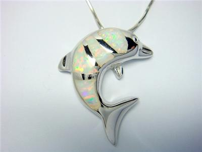 Sterling Silver White Opal Sea Dolphin Charm Pendant