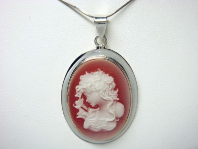 925 Sterling Silver Vintage Lady Red Cameo Pendant 7gr