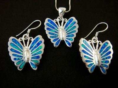 925 Silver Hawaiian Opal Butterfly Earrings Pendant Set