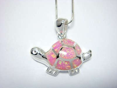 Sterling Silver Pink Inlay Opal Turtle Charm Pendant