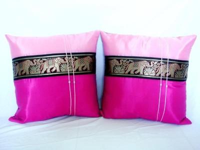 Pair of Thai Silk Big Elephant Art Cushion Pillow Cover