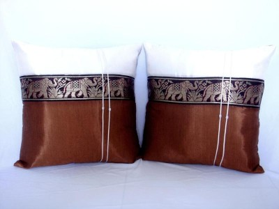 Pair of Thai Silk Brown Big Elephant Art Cushion Cover