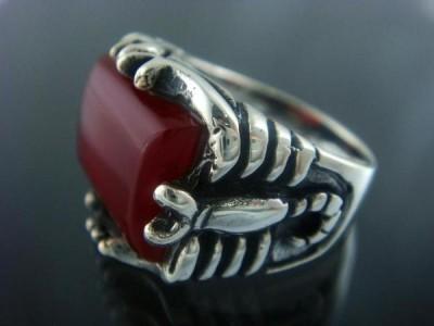 925 Sterling Silver Men& 39 s Carnelian Big Scorpion Ring