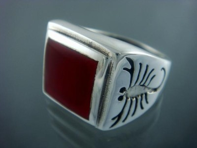 Sterling Silver Mens Carnelian Big Scorpion Zodiac Ring