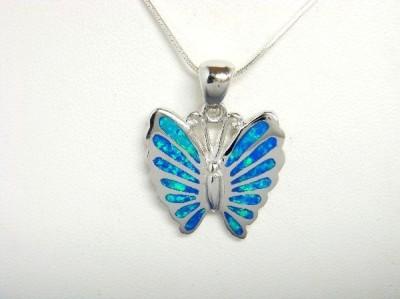 Sterling Silver Pendant Hawaiian Blue Opal Butterfly