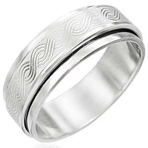 316L Surgical Stainless Steel Woven Band Spinner Ring