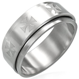 316L Surgical Stainless Steel Cross Spinner Ring Size 8