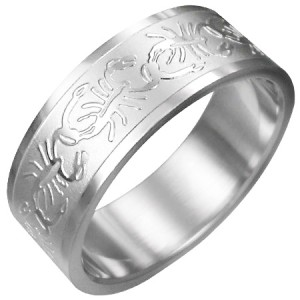 316L Surgical Stainless Steel Scorpion Zodiac Ring Sz 7