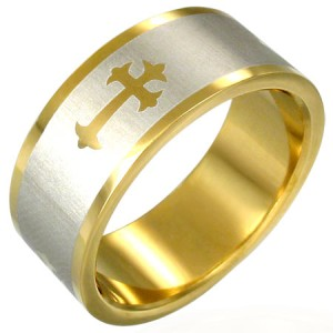 316L Gold Plated Stainless Steel Gothic Art Cross Ring