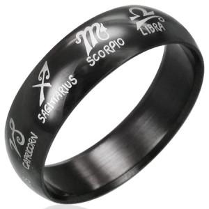 316L Black Polished Stainless Steel Zodiac Symbols Ring