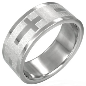 316L Surgical Stainless Steel Polished Cross Ring Sz 12
