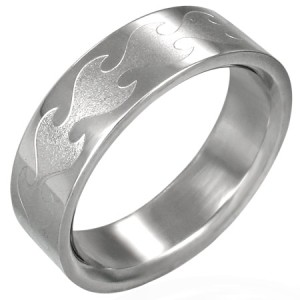 316L Stainless Steel Tribal Flame Unisex Band Ring 7 11