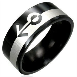 316L Black Stainless Steel Gender Gay Pride Ring Size 6
