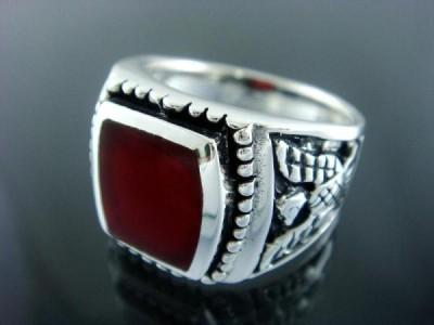 925 Sterling Silver Men& 39 s German Eagle Carnelian Ring