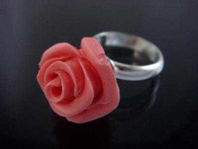 925 Sterling Silver Pink Rose Coral Stone Flower Ring